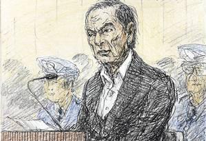 Esboço feito por Nobutoshi Katsuyama mostra o ex-presidente da Nissan, Carlos Ghosn, durante audiência em janeiro para ouvir o motivo de sua prolongada detenção, no Tribunal Distrital de Tóquio Foto: KYODO / REUTERS