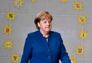 Chanceler federal alemã, Angela Merkel, durante evento em Berlim Foto: TOBIAS SCHWARZ / AFP
