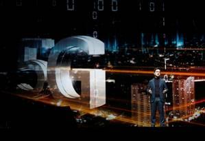 I.P. Park, ´residente da LG Electronics, falou sobre 5G na feira de eletrônicos CES, em Las Vegas Foto: STEVE MARCUS / REUTERS