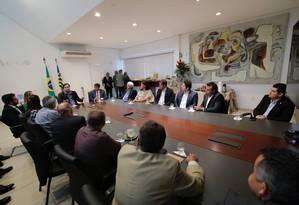 O presidente da Câmara, Rodrigo Maia, participa de reunião no Piauí Foto: Secom/Piauí