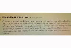 Mensagem interna no Banco do Brasil fala sobre promoção do filho de Mourão Foto: Reprodução