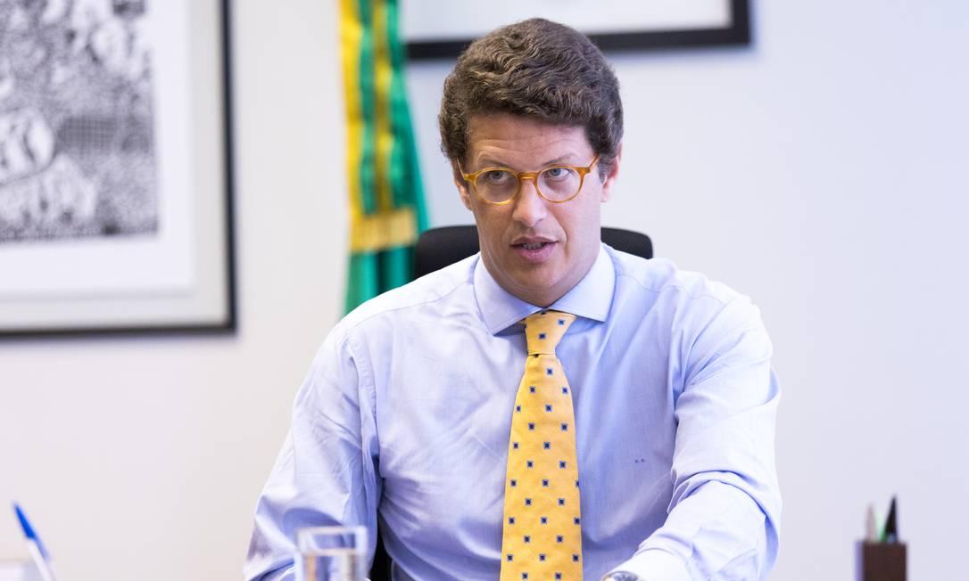 O ministro do Meio Ambiente, Ricardo Salles, durante cerimônia de transmissão de cargo Foto: Gilberto Soares/Divulgação/02-01-2019