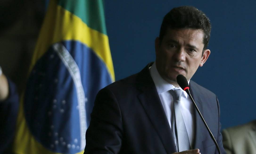 O ministro da Justiça, Sergio Moro, durante cerimônia de transmissão de cargo Foto: Jorge William/Agência O Globo