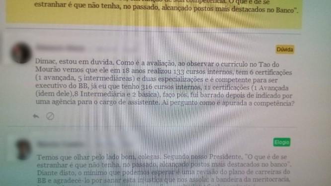 Comentários no sistema de mensagens interno do Banco do Brasil Foto: Reprodução