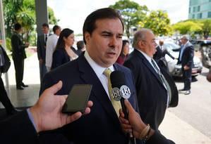 O presidente da Câmara, Rodrigo Maia, durante entrevista Foto: Pablo Valadares/Câmara dos Deputados/02-01-2019