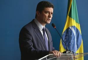 O ministro da Justiça, Sergio Moro, durante solenidade de passagem do comando da Força Nacional Foto: IsaacAmorim/Ministério do Justiça/04-01-2019