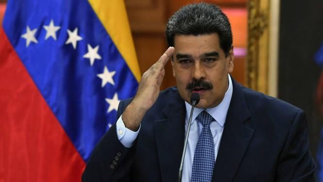 Presidente venezuelano, Nicolás Maduro, durante coletiva no Palácio de Miraflores Foto: YURI CORTEZ / AFP
