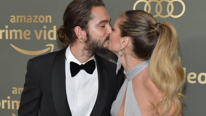 Tom Kaulitz e Heidi Klum: beijo em festa depois do Globo de Ouro Foto: Neilson Barnard / AFP