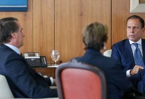 O presidente Jair Bolsonaro durante reunião com o governador de São Paulo, João Doria (PSDB) Foto: Foto: Marcos Correa / PR