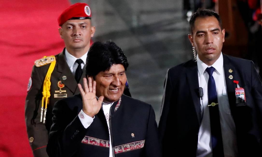 Presidente boliviano, Evo Morales, chega antes da posse cerimonial do presidente Foto: CARLOS GARCIA RAWLINS / REUTERS