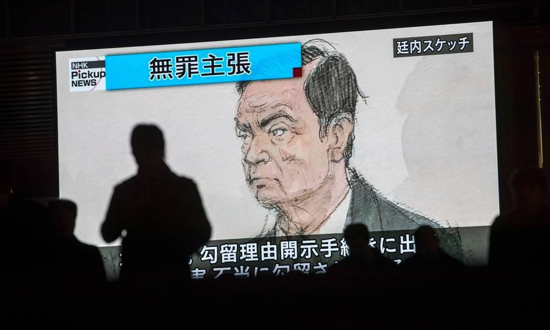 Desenho do depoimento de Carlos Ghosn no tribunal japonês: aspecto abatido e envelhecido Foto: BEHROUZ MEHRI / AFP
