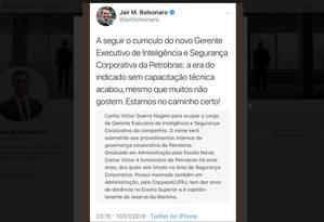 Mensagem apagada no Twitter de Bolsonaro em que ele diz que a