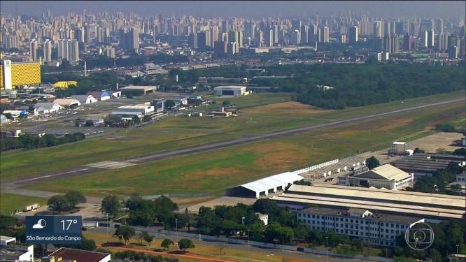 Vista aérea do aeroporto Campo de Marte, em São Paulo Foto: Reprodução/TV Globo