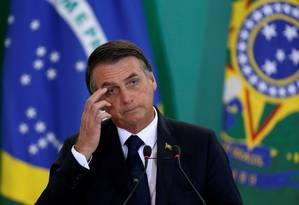 O presidente Jair Bolsonaro durante cerimônia no Palácio do Planalto Foto: Adriano Machado/Reuters/07-01-2019