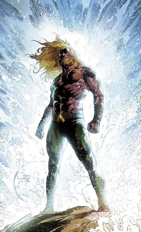 ROBSON ROCHA (São Paulo, 33 anos). Após agradar à DC ilustrando histórias de heróis como Lanterna Verde e Deathstroke, ele participa da nova e elogiada fase mitológica de Aquaman (acima). Foto: Robson Rocha / Divulgação