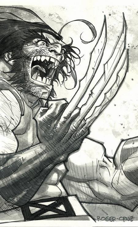 """ROGER CRUZ (São Paulo, 47 anos). Após anos entre heróis da Marvel, como Wolverine (acima), toca projetos pessoais como """"Quaisqualigundum"""", premiada bio de Adoniran Barbosa em HQ. Foto: Roger Cruz / Reprodução"""