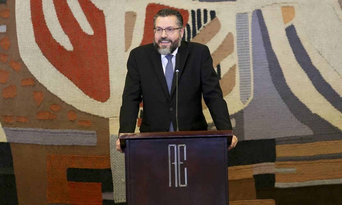 O ministro das Relações Exteriores, Ernesto Araújo, durante solenidade de transmissão de cargo Foto: Fabio Rodrigues Pozzebom/Agência Brasil/02-01-2019