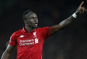 Sadio Mané comemora um de seus gols pelo Liverpool Foto: CARL RECINE / Action Images via Reuters