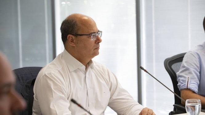 O governador do Rio Wilson Witzel com secretários no Palácio Guanabara Foto: Ana Branco / Agência O Globo