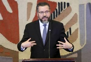 O chanceler Ernesto Araújo durante posse de seu cargo Foto: Fabio Rodrigues Pozzebom / Agência Brasil