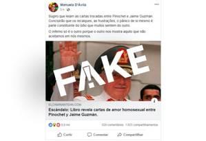 Texto compartilhado por Manuela D'Ávila é sátira política Foto: Reprodução