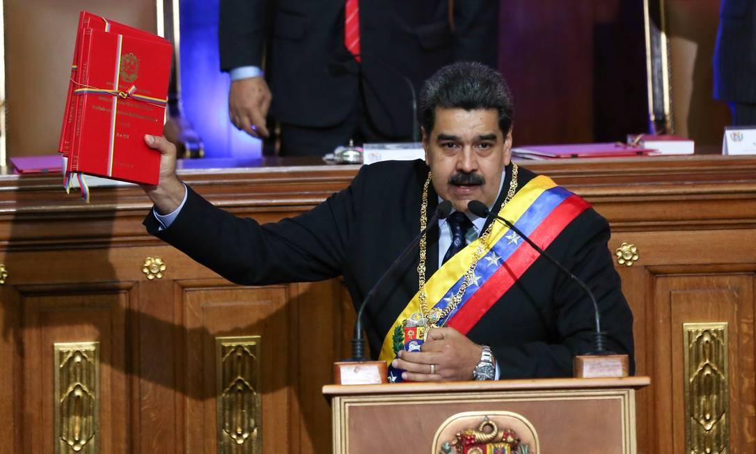 Presidente venezuelano, Nicolás Maduro discursa na Assembleia Nacional Constituinte, em Caracas Foto: Palácio de Miraflores / REUTERS