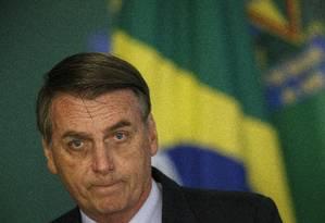 O presidente Jair Bolsonaro participa de cerimônia no Palácio do Planalto Foto: Daniel Marenco / Agência O Globo