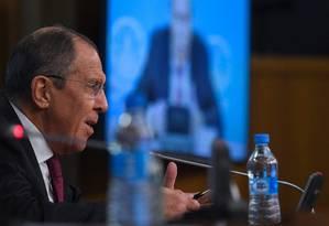 Ministro das Relações Exteriores da Rússia, Sergei Lavrov concede entrevista coletiva anual em Moscou Foto: KIRILL KUDRYAVTSEV / AFP