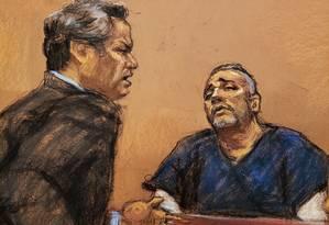 Advogado de El Chapo, Jeffrey Lichtman, interroga Alex Cifuentes, um ex-colaborador do narcotraficante Foto: JANE ROSENBERG / REUTERS