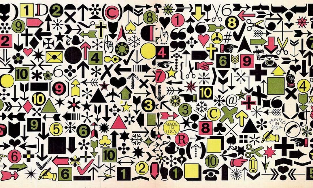 Caracteres ITC Zapf Dingbats®, criados pelo renomado tipógrafo alemão Hermann Zapf e que foram apresentados na revista U&lc no final da década de 70 Foto: REPRODUÇÃO DE U&LC / VOLUME 5