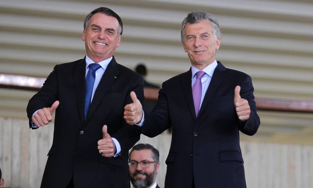 Os presidentes do Brasil, Jair Bolsonaro, e da Argentina, Mauricio Macri, no Palácio Itamaraty Foto: Jorge William/Agência O Globo