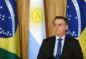 O presidente Jair Bolsonaro, durante encontro com o presidente argentino Mauricio Macri Foto: Evaristo Sá/AFP
