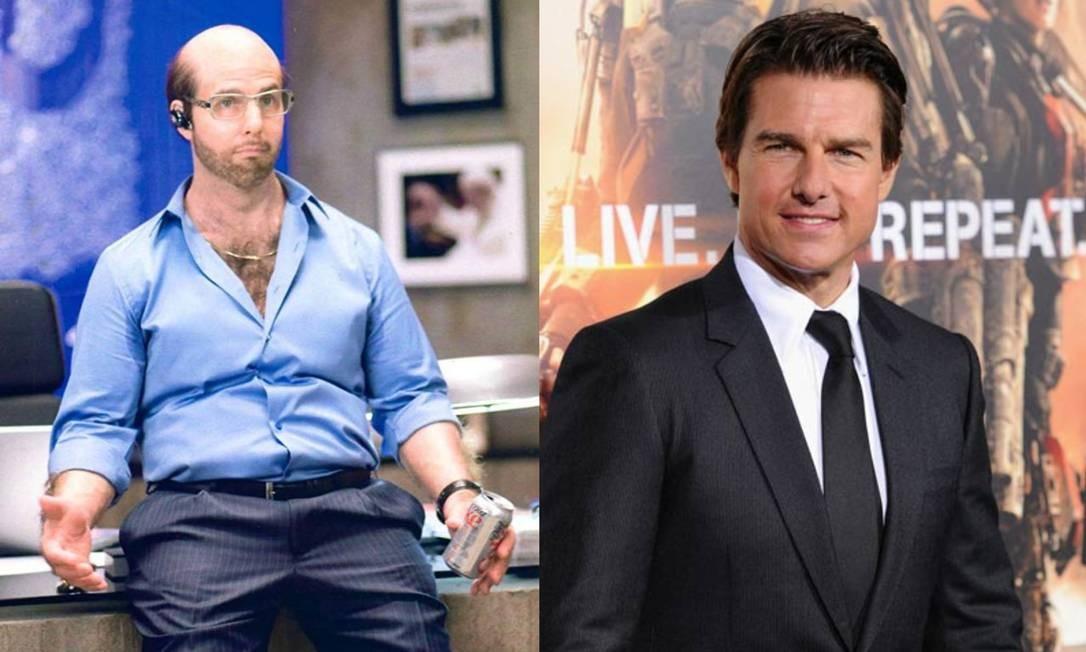 Na comédia 'Trovão tropical' (2008), Tom Cruise também impressionou ao aparecer careca para viver o personagem Les Grossman Foto: Divulgação/AFP