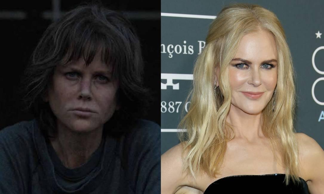 Entre os filmes desta temporada, não faltam exemplos de atores irreconhecíveis em seus papéis. É o caso de Nicole Kidman, que surge envelhecida como a detetive Erin Bell em 'O peso do passado', filme que estreia nesta sexta-feira nos cinemas. No lado direito, a atriz em aparição recente no tapete vermelho Foto: Divulgação/AFP