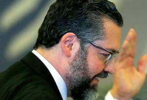 Ernesto Araújo na posse de Bolsonaro no dia 1º de janeiro. Ele virou chanceler por contar com o aval de Olavo de Carvalho Foto: Ueslei Marcelino / Reuters