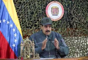 Presidente da Venezuela, Nicolás Maduro, durante evento militar em Caracas Foto: HANDOUT / REUTERS