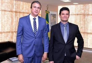 O governador do Ceará, Camilo Santana (PT) se reúne com o ministro da Justiça, Sergio Moro Foto: IsaacAmorim/Divulgação