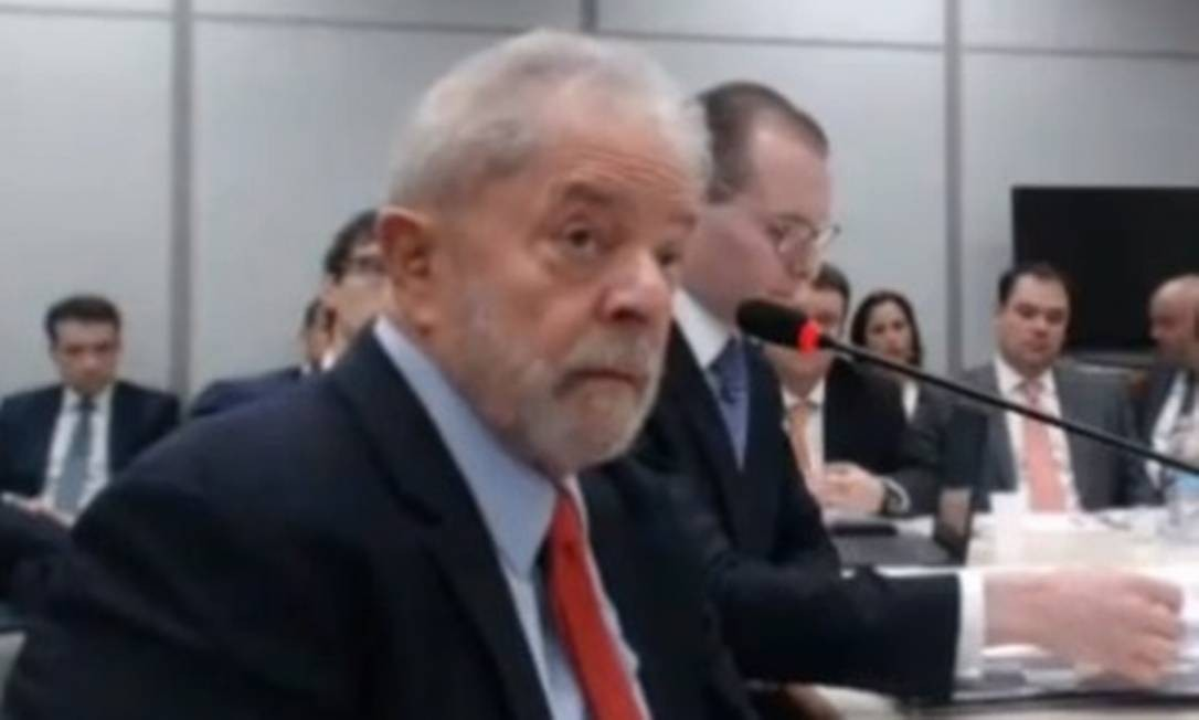 Na foto, Lula presta depoimento à juíza que substituiu Sergio Moro 14/11/2018 Foto: Reprodução