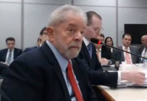 Na foto, o ex-presidente Lula durante depoimento à Justiça Federal 14/11/2018 Foto: Reprodução