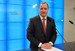 Stefan Lofven, líder do partido social-democrata, durante coletiva de imprensa após ser eleito primeiro-ministro Foto: TT NEWS AGENCY / REUTERS