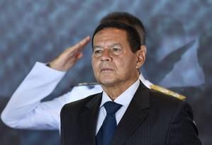 O vice-presidente Hamilton Mourão durante de cerimônia de troca de comando da Marinha Foto: Evaristo Sá/AFP/09-01-2019