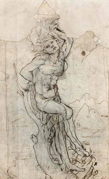 RASCUNHOMILIONÁRIO: Descoberto em 2016 na França, este desenho de Leonardo da Vinci feito na década de 1480 foi avaliado em US$ 16 milhões Foto: Reprodução.