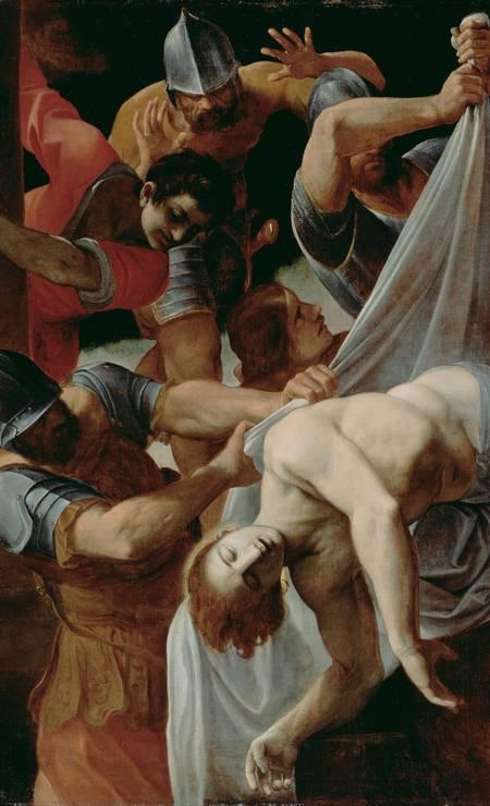 QUEDA: Neste quadro de 1612, Lodovico Carracci apresenta São Sebastião após sobreviver às flechas, sendo jogado no esgoto de Roma Foto: Reprodução