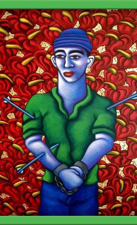 """SÉRIE: A partir dos anos 1980, o artista americano Tony de Carlo (1956-2014) fez mais de 40 pinturas alusivas a São Sebastião. Na sua visão, era uma resposta a epidemia de AIDS: """"Eu o escolhi por ser um santo protetor contra a Praga"""", disse em entrevista ao blog Jesus In Love Foto: Reprodução"""