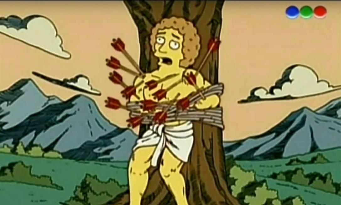 """ANIMAÇÃO: São Sebastião apareceu em """"Os Simpsons"""". Foi em um episódio de 2005, em que Bart recebe um gibi chamado """"A vida dos santos"""" e o mártir é retratado com um super-herói de quadrinhos Foto: Reprodução"""