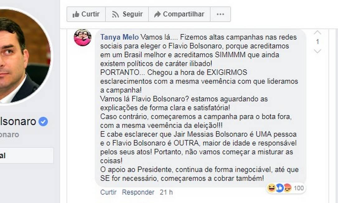 Eleitora questiona Flavio em rede social Foto: Reprodução
