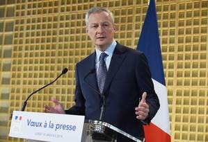 O ministro das Finanças francês, Bruno Le Maire, sugeriu para a presidência da Nissan o diretor-executivo da Michelin, Jean-Dominique Senard Foto: ERIC PIERMONT / AFP