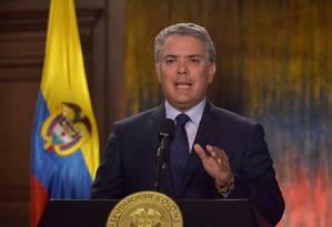 Desde que assumiu, em agosto, o presidente colombiano, Iván Duque, mantém paradas as negociações com o ELN Foto: HANDOUT / REUTERS