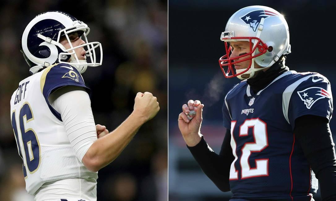Jared Goff e Tom Brady são os quarterbacks dos times finalistas da NFL Foto: Jonathan Bachman and Adam Glanzman / GETTY IMAGES NORTH AMERICA /AFP