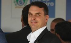 O deputado estadual e senador eleito Flávio Bolsonaro participa de inauguração de escola Foto: Pablo Jacob/Agência O Globo/17-12-2018